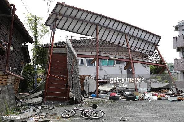 Destroyed apartment on April 20 2016 in Mashiki near Kumamoto Japan As of 20th of April 48 people were confirmed dead after strong earthquakes rocked...
