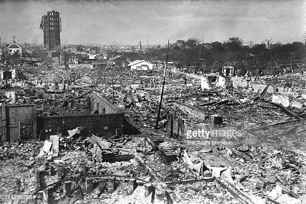 Destroyed Asakusa Park and Ryounkaku Tower are seen after the Great Kanto Earthquake in September 1923 in Tokyo Japan The estimated Magnitude 79...