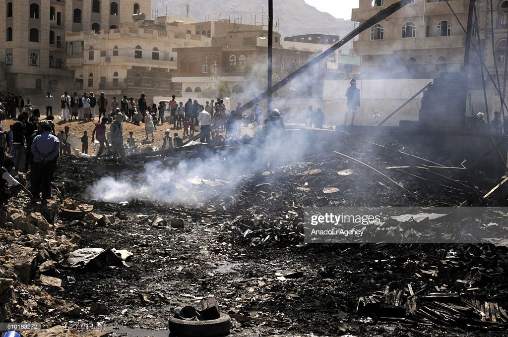 A destroyed building is seen as Saudi-led coalition forces conduct airstrike to a building at Siraton neighborhood in Sana, capital city of Yemen, on February 14, 2016.