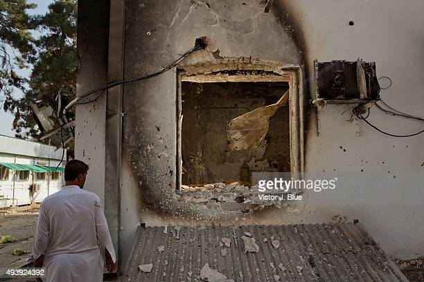 A destroyed building on October 14 in Kunduz Afghanistan aftermath of the US airstrike on the Medecins Sans Frontieres hospital in Kunduz that took...