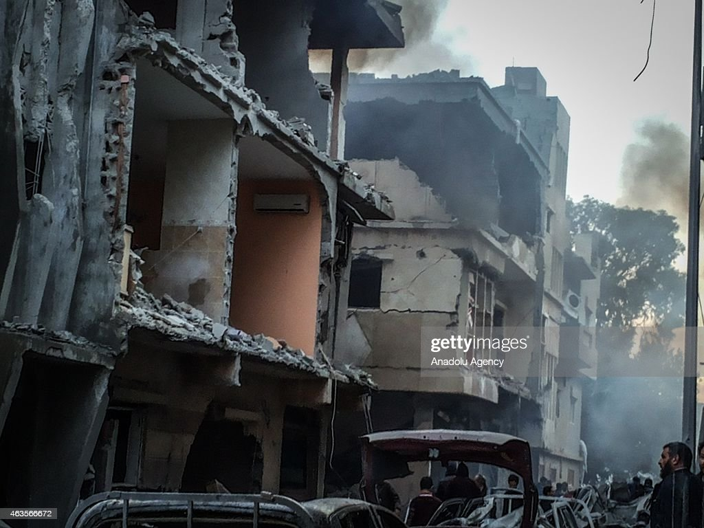 Destroyed buildings seen after Egypt's army warplanes carried out airstrikes in neighboring Libya against targets belonging to the Islamic State of...