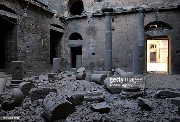 Destroyed columns of Busra Castle which date from the Roman period are seen after Assad regime forces bombed the town of Busra in Daraa Syria on...