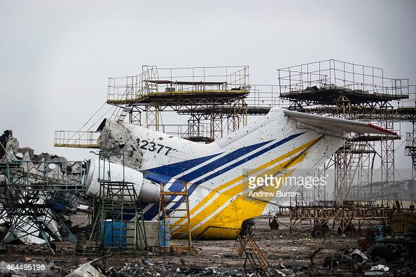 Destroyed commercial airplanes sit scattered at the Donetsk airport on February 26 2015 in Donetsk Ukraine The Donetsk airport has been one of the...