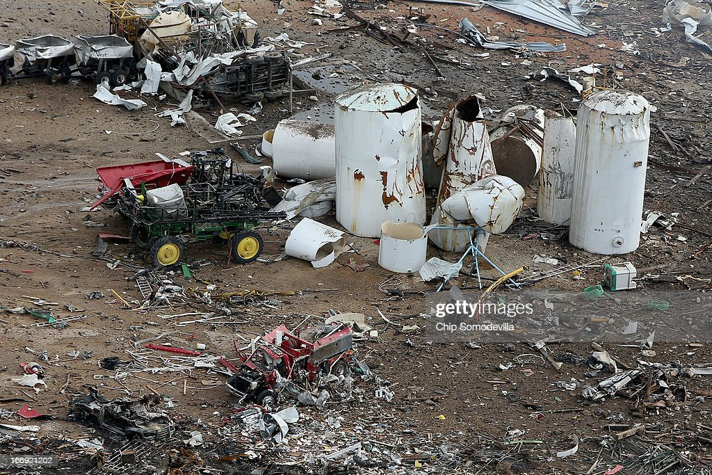 A destroyed fire truck sits among piles of rubble where an explosion at the West Fertilizer Company leveled the business a day earlier April 18, 2013 in West, Texas. According to West Mayor Tommy Muska, around 35 people, including 10 first responders, were killed and more than 150 people were injured when the fertilizer company caught fire and exploded, leaving damaged buildings for blocks in every direction.