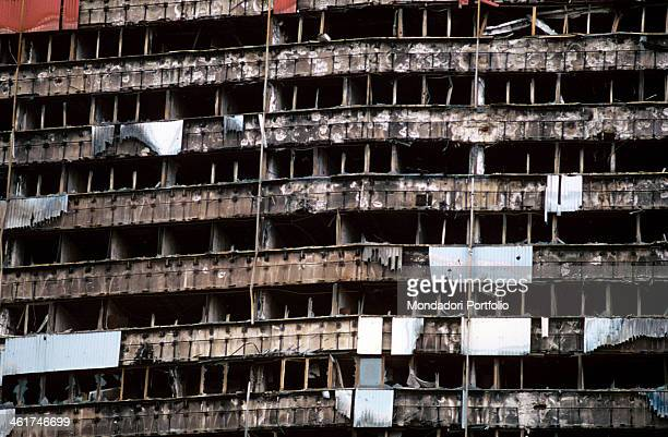 Destroyed front of a skyscraper in Sarajevo The city was the scene of the war in Bosnia and Herzegovina and under siege for four years Sarajevo 1997