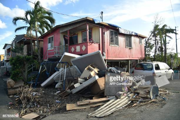 Destroyed furniture is seen on a street in Juana Matos Catano Puerto Rico on October 4 two weeks after the passage of the Hurricane Maria US...