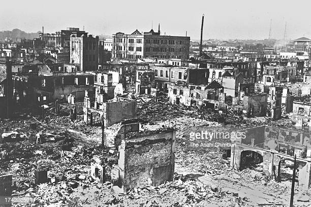 Destroyed Hibiya area by the Great Kanto Earthquake and subsequent fire in September 1923 in Tokyo Japan The estimated Magnitude 79 strong earthquake...