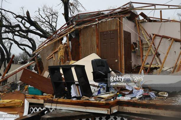 A destroyed home is seen after Hurricane Harvey passed through on August 26 2017 in Rockport Texas Harvey made landfall shortly after 11 pm Friday...