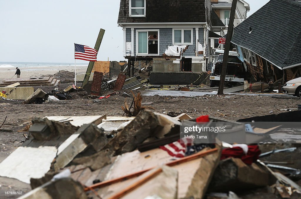 A destroyed home remains in the hard hit Rockaway neighborhood on December 7, 2012 in the Queens borough of New York City. Rockaway was slammed by Superstorm Sandy with many homes severely damaged from flooding.