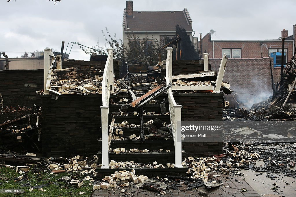 A destroyed home sits after Hurricane Sandy on October 30, 2012 in the Rockaway section of the Queens borough of New York City. At least 40 people were reportedly killed in the U.S. by Sandy as millions of people in the eastern United States have awoken to widespread power outages, flooded homes and downed trees. New York City was hit especially hard with wide spread power outages and significant flooding in parts of the city.