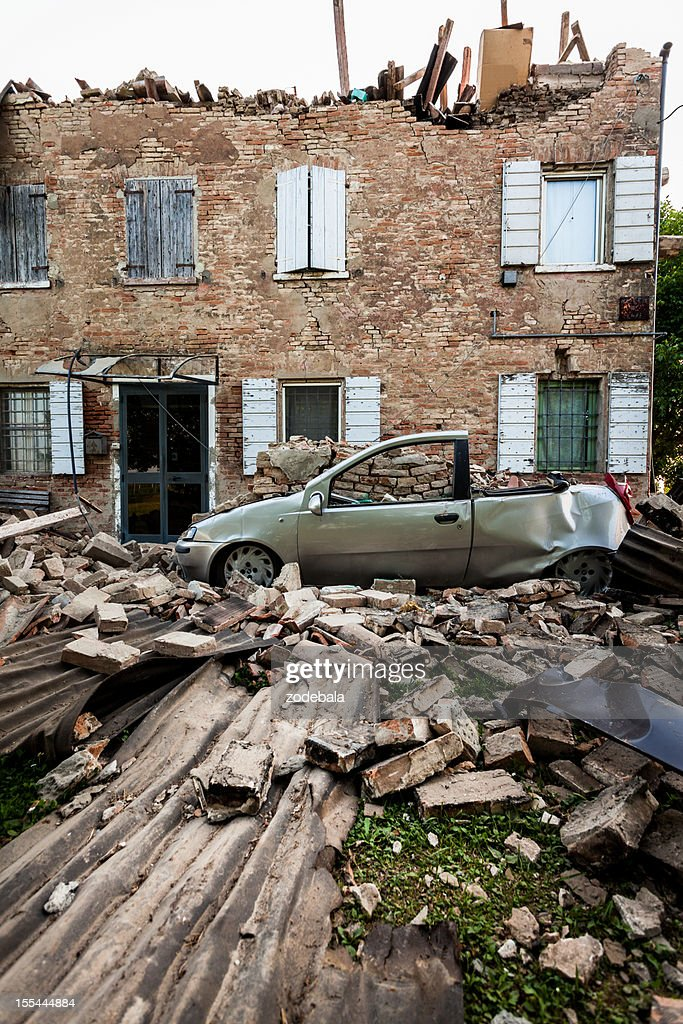 Destroyed House after Earthquake in Italy (Emilia Romagna, 2012) : Stock Photo
