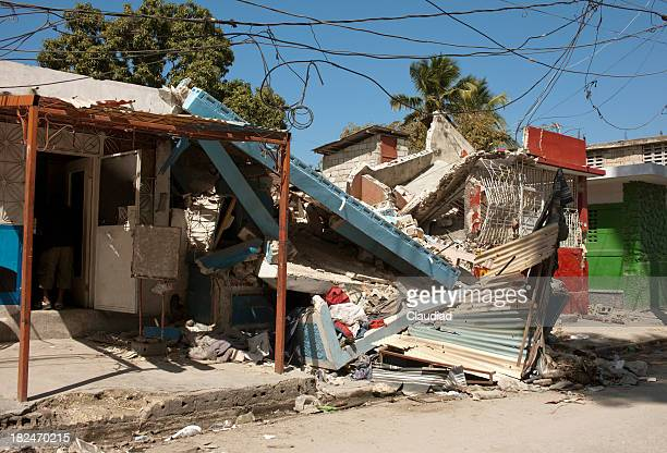 Destroyed houses after earthquake in Haiti