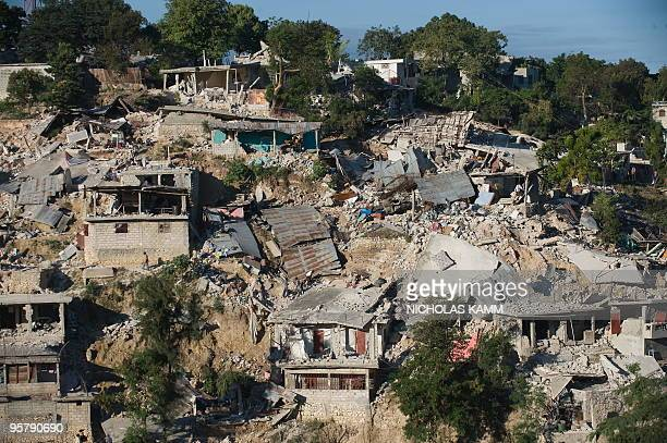 Destroyed houses are seen on a hillside in PortauPrince on January 14 two days after an earthquake measuring 70 on the openended Richter scale hit...