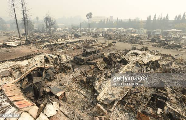 TOPSHOT A destroyed Journeys End Mobile Home Park is seen in Santa Rosa California on October 10 2017 Firefighters encouraged by weakening winds were...