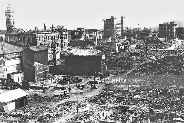 Destroyed Kaigan Street and surrounding area after the Great Kanto Earthquake in September 1923 in Yokohama Kanagawa Japan The estimated Magnitude 79...