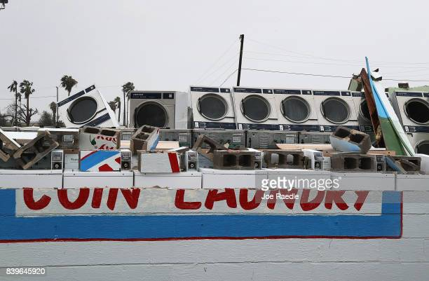 A destroyed laundrymat is seen after Hurricane Harvey passed through on August 26 2017 in Rockport Texas Harvey made landfall shortly after 11 pm...