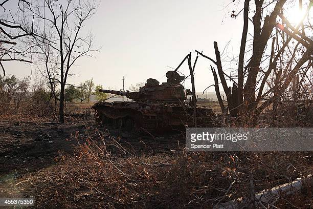 Destroyed military equipment from a recent battle outside of the battered city of Lugansk is viewed on September 13 2014 in Lugansk Ukraine Lugansk a...