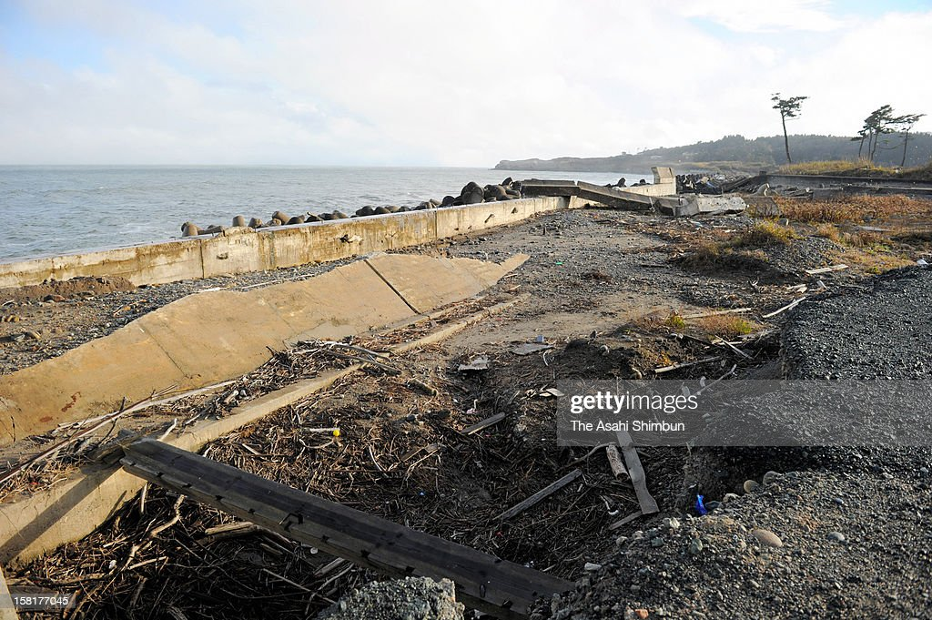 Destroyed pier remains untouched after the Great East Japan Earthquake and the following tsunami hitting Okuma City, where the crippled Fukushima Daiichi Nuclear Power Plant is located, reclassified as 'No Go Zone' on December 9, 2012 in Okuma, Fukushima, Japan. Japanese government reclassified the area where 96 percent of Okuma city residents used to live as 'residents will face difficulties in returning for a long time' according to the radiation contamination level.