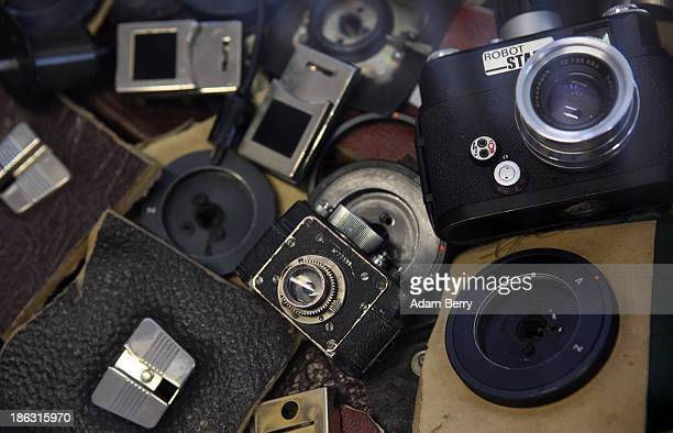 Destroyed spy camera equipment from fall of 1989 the end of the Cold War is displayed at the Stasi or East German Secret Police Museum on October 30...
