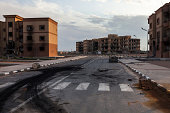 Tawergha, Libya - Februari 26, 2012: The ghost town Tawergha is situated half an hour's drive from Misrata that is the closest neighbouring city. When Gaddafi attacked Misrata, many Tawerghans were pa