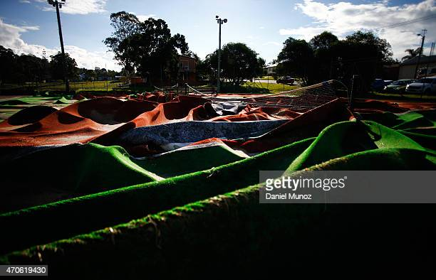A destroyed tennis court is seen after cyclonic winds on April 22 2015 in Dungog Australia Three people have died and more than 200000 are still...