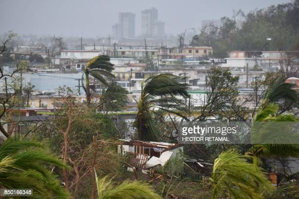 Destruction caused by Hurricane Maria close to Roberto Clemente Coliseum in San Juan Puerto Rico on September 20 2017 Maria slammed into Puerto Rico...