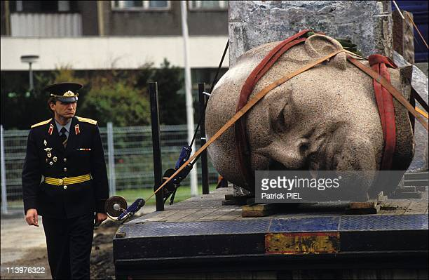 Destruction of statue of Lenin in Berlin Germany On November 13 1991