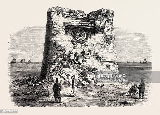Destruction Of The Martello Tower Eastbourne Sussex By Sir W Armstrong's Guns At A Distance Of 1032 Yards 1860 Engraving