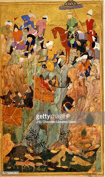 Destruction of the remnant of the Kipchak Army from Zafarnama or Book of Victory the biography of Timur known to the English world as Tamerlane the...