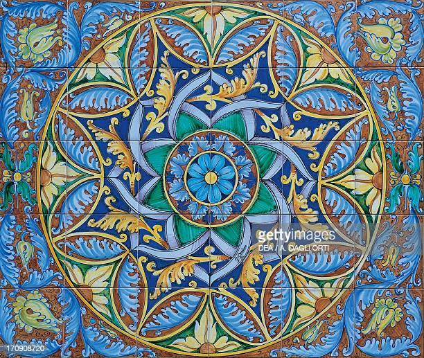 Desuir ceramics painted majolica panel with ArabNorman style frieze Santo Stefano di Camastra Sicily Italy