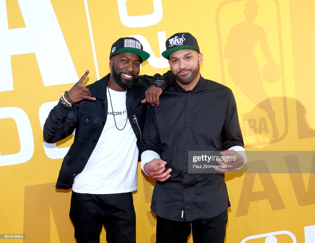 Desus (L) and The Kid Mero attend the 2017 NBA Awards at Basketball City - Pier 36 - South Street on June 26, 2017 in New York City.