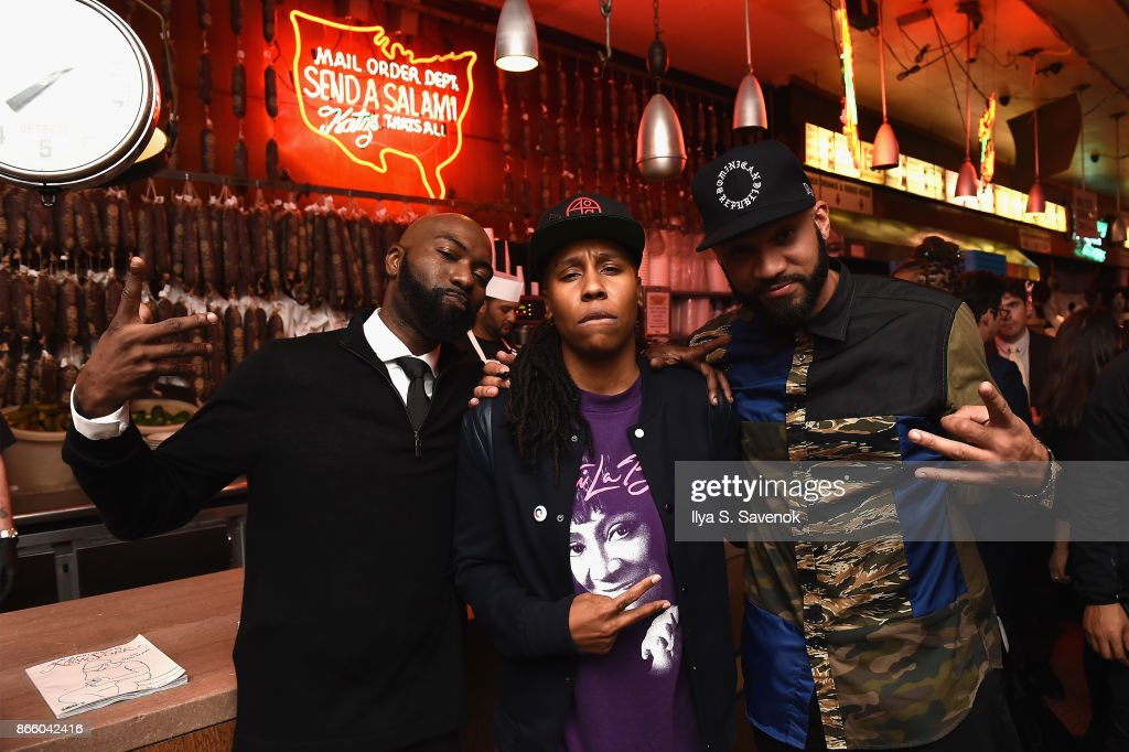 Desus Nice, Lena Waithe, and The Kid Mero attend the New York Magazine 50th Anniversary Party at Katz's Delicatessen on October 24, 2017 in New York City.
