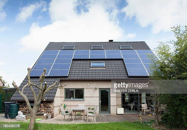 Detached bungalow with solar panels on roof