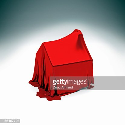 Detached house under red silk cloth