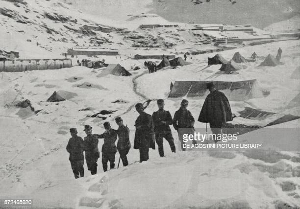 Detachment stationing in an Alpini outpost on the Tonale Pass Italy World War I from L'Illustrazione Italiana Year XLII No 50 December 12 1915