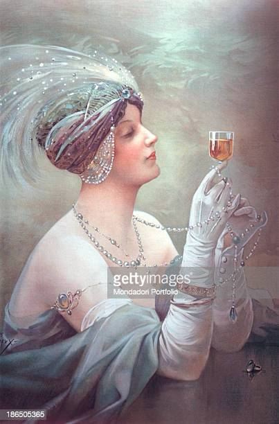 Detail Advertising poster for the well known poster symbol of the Belle Epoque a woman wearing perls gloves and feathers is drinking the distillate