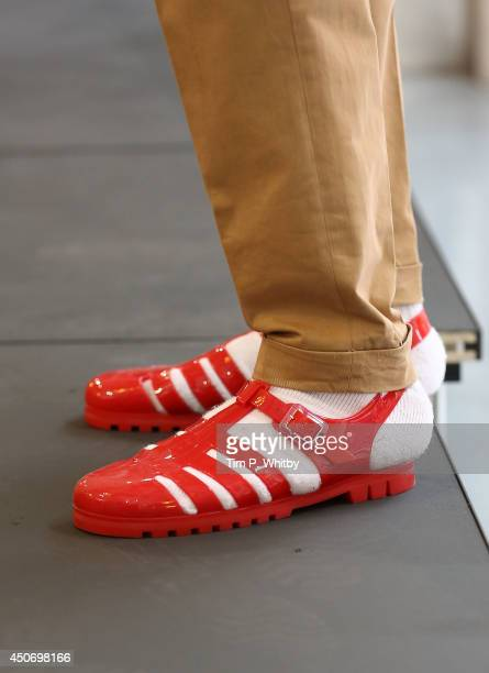 Detail as a Model walks the runway during the Hunter Gather presentation at the London Collections Men SS15 at Wigmore Street on June 16 2014 in...