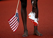 A detail as Tori Bowie celebrates after placing first in the Women's 200 Meter Final during the 2016 US Olympic Track Field Team Trials at Hayward...