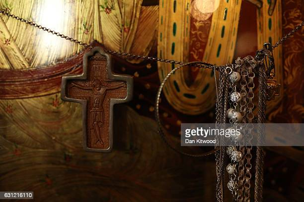 Detail at the Greek Orthodox Church of St Michael the Archangel attend a service for Feast of the Epiphany on January 08 2017 in Margate England...
