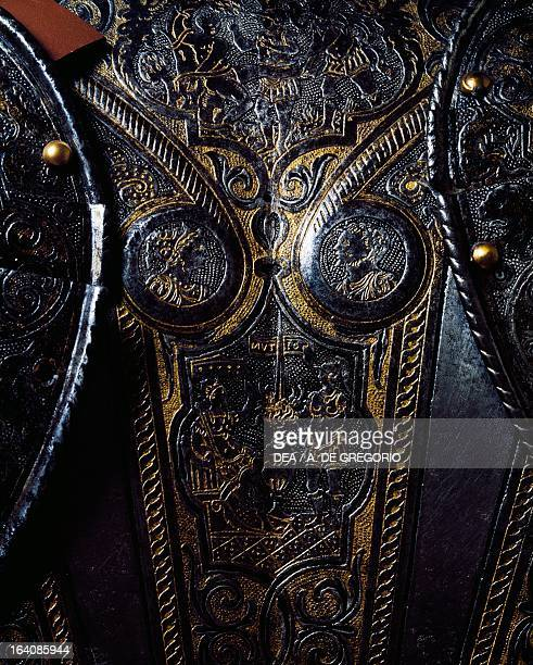 Detail from a breast plate of engraved and gilded armour work by the armourer Pompeo della Cesa Italy 16th century Piacenza Musei Di Palazzo Farnese