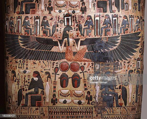 Detail from a coffin depicting the goddess Nut spreading her wings in protection over the deceased Egypt Ancient Egyptian New Kingdom21st or 22nd...