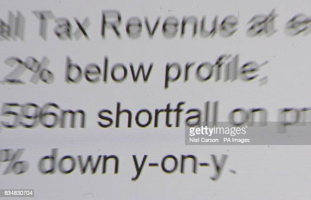 A detail from a powerpoint presentation as Government economists brief the press on Exchequer returns for the last nine months at the Department of...