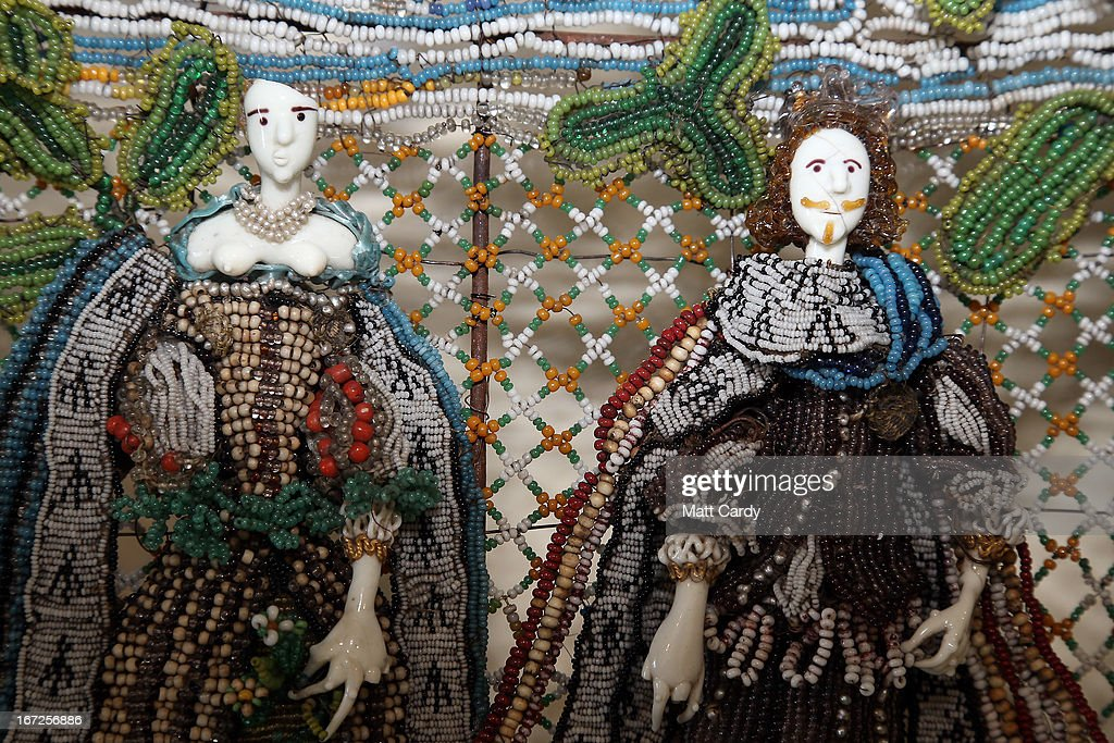 Detail from a rare seventeenth-century beadwork basket that the Holburne Museum has launched a appeal to acquire for its permanent collection, is seen at the Holburne Museum on April 23, 2013 in Bath, England. Made in England around 1665, the basket - which depicts Charles II who had recently been restored to the throne, and Catherine of Braganza next to a castle within a leafy landscape - is a rare survivor and is made from thousands of brightly coloured glass beads of varying sizes, threaded onto fine wires and attached to the mesh-like basket frame. To secure it for its collection, the Holburne needs the public to make donations totaling 6,000 GDP towards the 78,000 GDP cost of the basket, the majority of which is being sought through grants. The Museum has until July to raise 6,000 GDP.