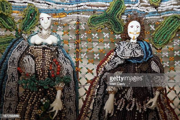 Detail from a rare seventeenthcentury beadwork basket that the Holburne Museum has launched a appeal to acquire for its permanent collection is seen...