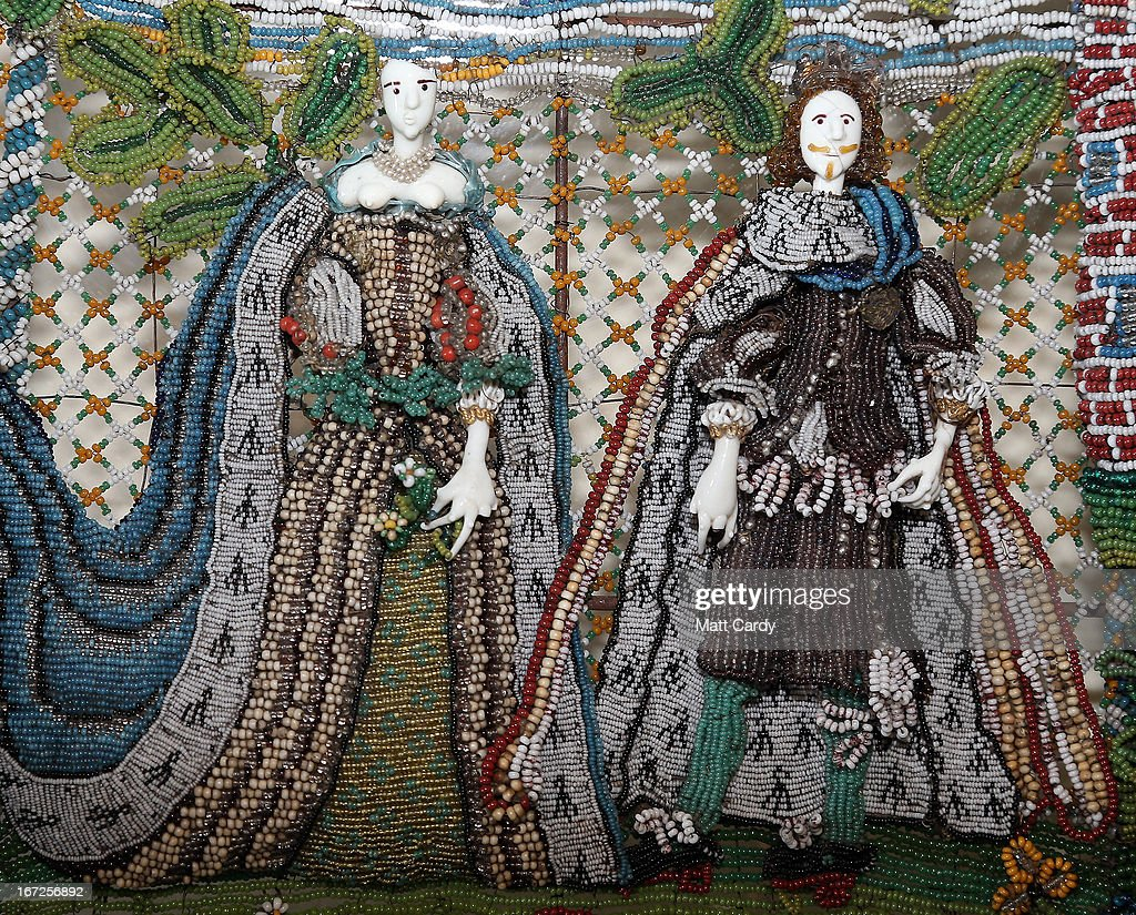 Detail from a rare seventeenth-century beadwork basket that the Holburne Museum has launched a appeal to acquire for its permanent collection is seen at the Holburne Museum on April 23, 2013 in Bath, England. Made in England around 1665, the basket - which depicts Charles II who had recently been restored to the throne, and Catherine of Braganza next to a castle within a leafy landscape - is a rare survivor and is made from thousands of brightly coloured glass beads of varying sizes, threaded onto fine wires and attached to the mesh-like basket frame. To secure it for its collection, the Holburne needs the public to make donations totaling 6,000 GDP towards the 78,000 GDP cost of the basket, the majority of which is being sought through grants. The Museum has until July to raise 6,000 GDP.