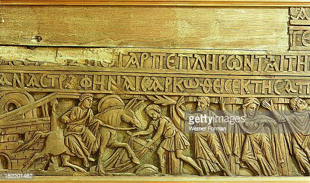 Detail from a wooden lintel depicting the entrance of Jesus in Jerusalem on Palm Sunday The Greek inscription is from the Gospel read on Palm Sunday...