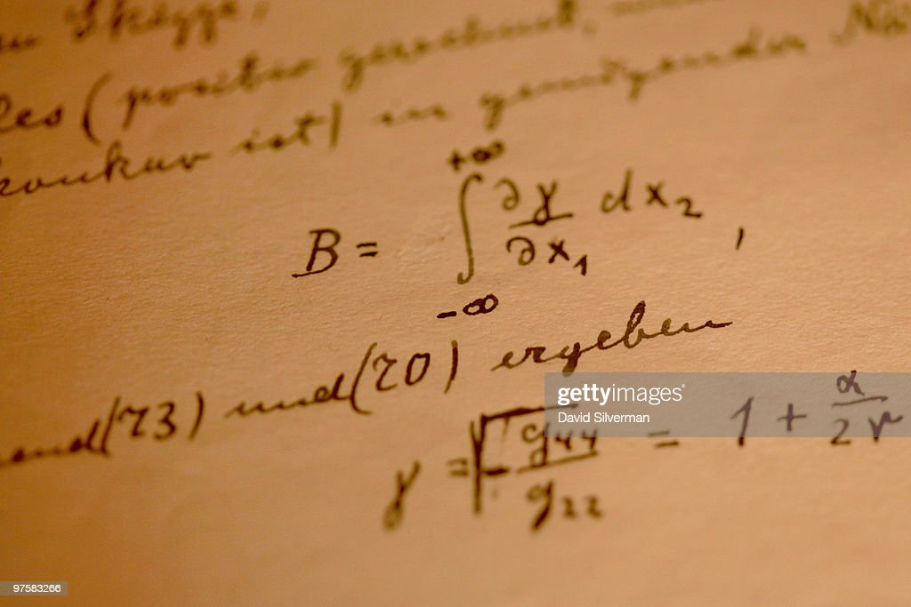 A detail from Albert Einstein's General Theory of Relativity which is on display in its entirety for the first time, at the Israeli Academy of Sciences and Humanities on March 9, 2010 in Jerusalem, Israel. Einstein donated the complete original forty-six page handwritten manuscript of his ground-breaking theory to The Hebrew University of Jerusalem during its inauguration in 1925.