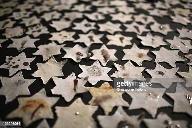 A detail from an installation by Ceramic artist Chava Rosenzweig of ceramic stars representing how the Holocaust shaped people's lives on January 15...