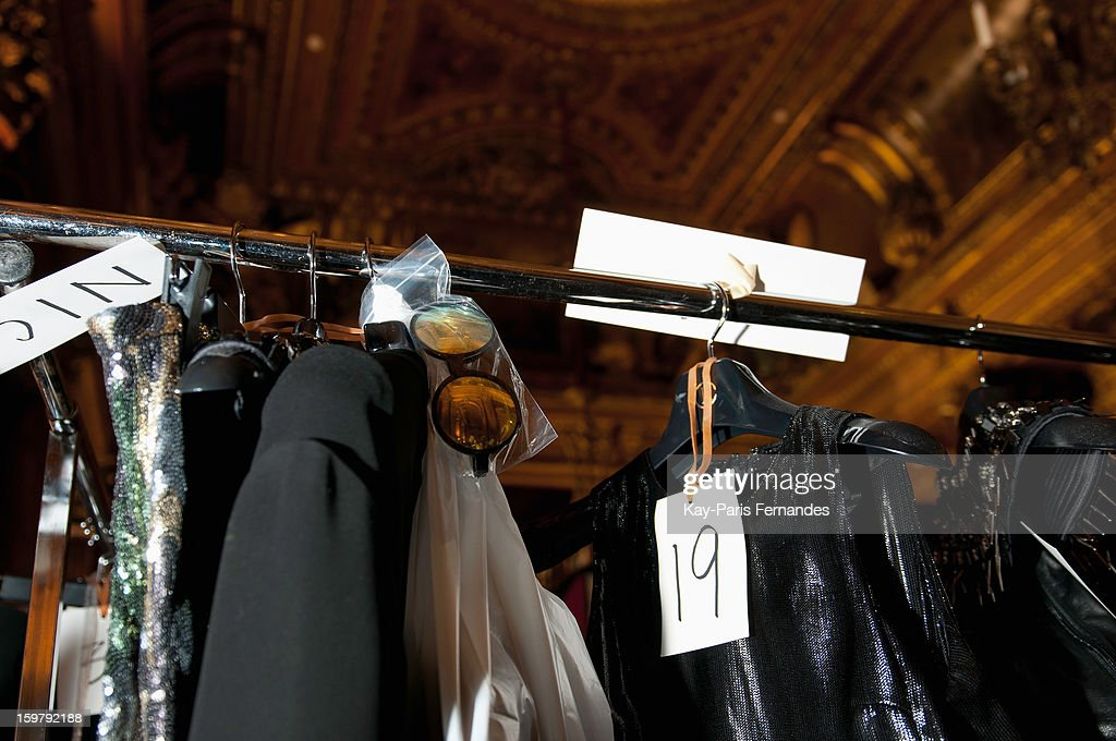 Detail from backstage during the Rynshu Men Autumn / Winter 2013 show as part of Paris Fashion Week on January 20, 2013 in Paris, France.