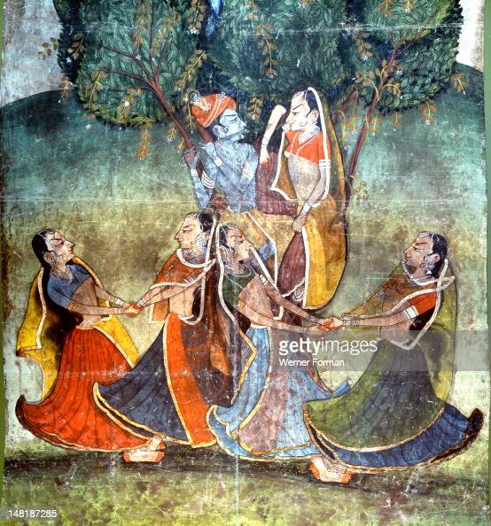 A detail from one of the legends of Krishna Krishna's flute would entrance the gopis prompting them to dance with him in the forest India Hindu 19th...
